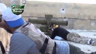 Aleppo Mount FSA targeting army tank from ATGM 2 7 2013