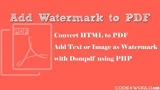 Create PDF with Watermark in PHP using Dompdf