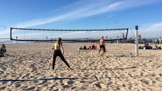 Girls Play Intense Rally of Volleyball - 1019400-1
