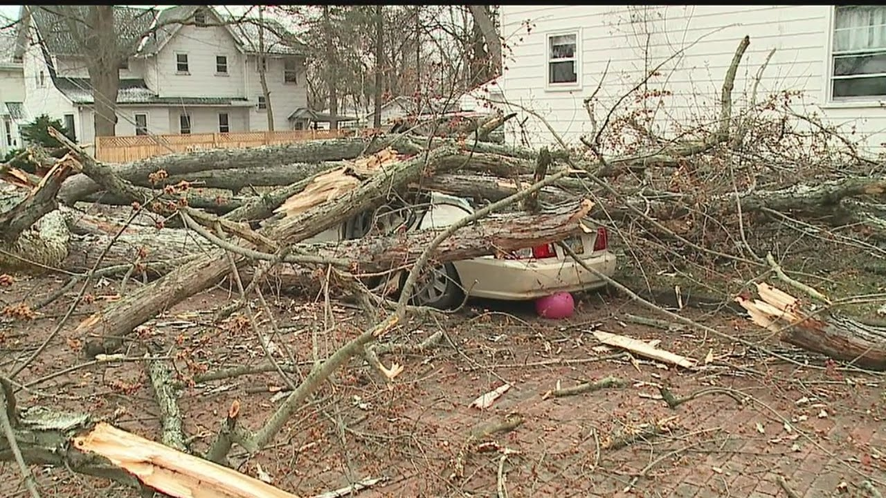 strong winds take down power lines tree hits cars and house in