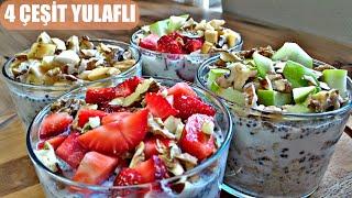 Tek Seferde 4 Farklı Yulaflı Kahvaltı Tarifi  Kolay Yulaflı Kahvaltılık Çilekli Muzlu Yeşil Elmalı