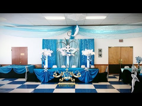 Faos Events Decoracion azul turquesa plata y negro  YouTube