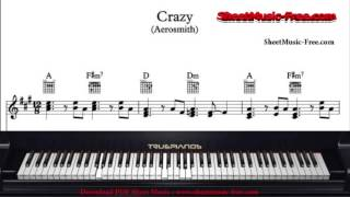 CRAZY SHEET MUSIC AEROSMITH CRAZY PIANO SHEET MUSIC