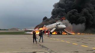 """Пожар """"Суперджета"""" в Шереметьево 5.05.2019"""