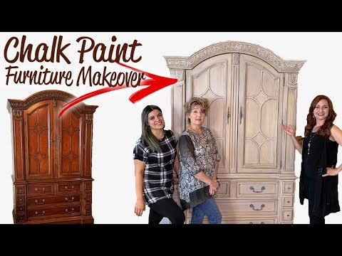 How To Chalk Paint Furniture | Armoire Makeover | *DIY For Beginners*