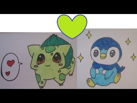 Tuto dessiner des pok mon kawaii bulbizarre tiplouf youtube - Dessiner pokemon ...