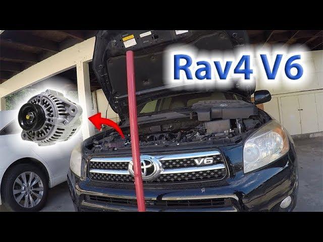 2008 Rav4 V6 3.5L Alternator Removal & Replace w/o removing radiator 2006 -  2012 (PART1) - YouTubeYouTube