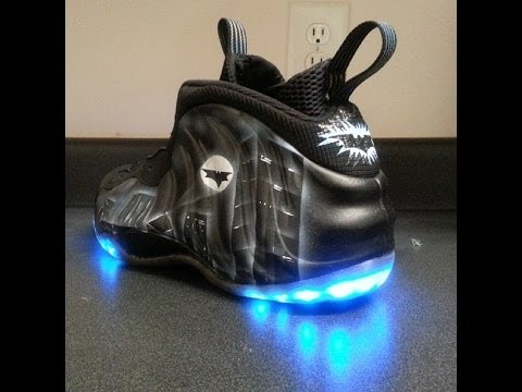d94c0360cc6 Dark Knight LED Nike Foamposites V2 - YouTube