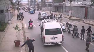 (Earthquake starts at 1:16) Kathmandu Nepal Earthquake Traffic CCTV caught on camera April 25 2015