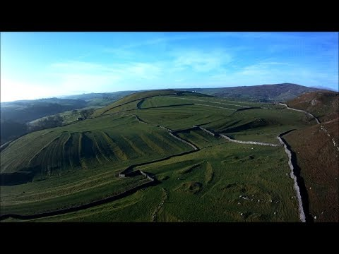 Near Gordale scar, quadcopter flight over ancient settlement and field systems