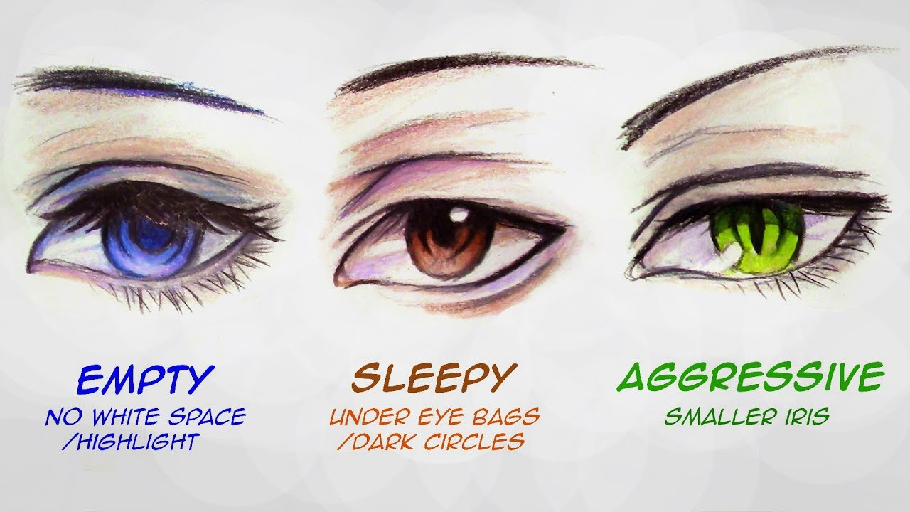 How to draw male anime eyes in 3 ways slow motion