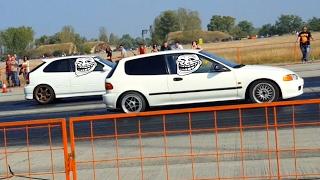 Honda Civic Ek4 vs Honda Civic Eg6 - B16  Battle - Drag Race 01.10.2016 at Kiskunlacháza