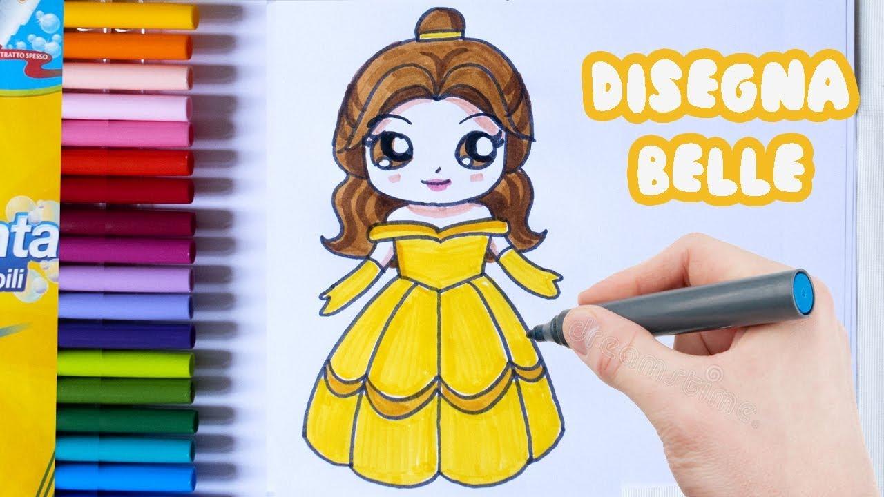 Immagini Belle Da Dipingere come disegnare belle, la principessa disney - draw belle disney princess