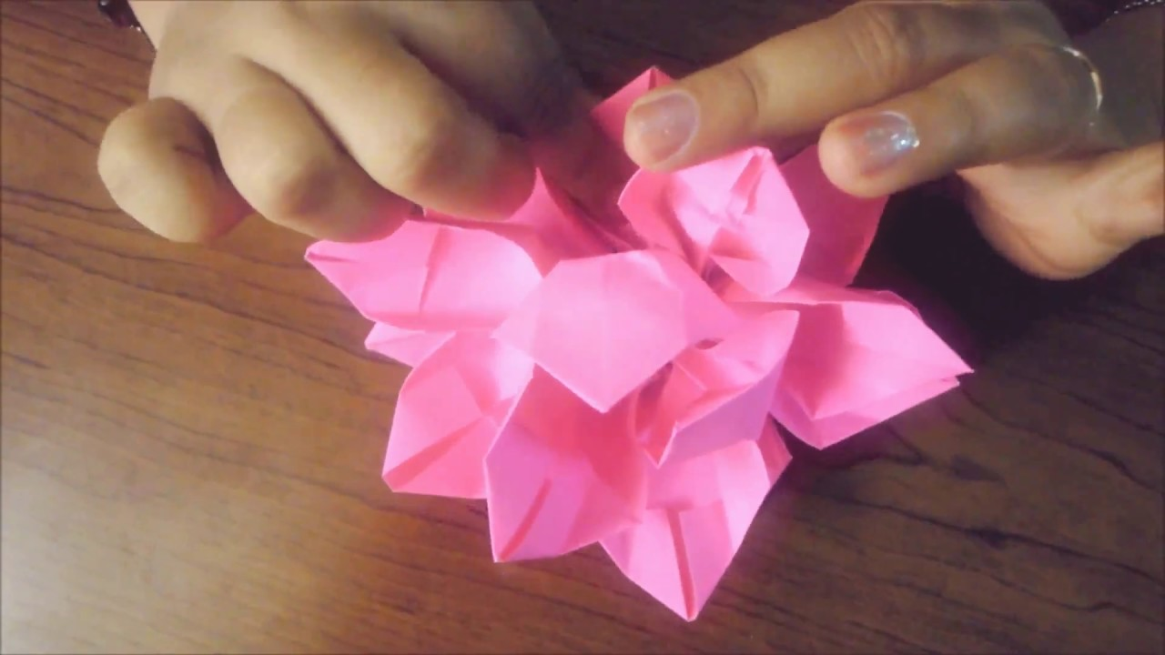 How to make paper origami lotus youtube for How to make a lotus with paper