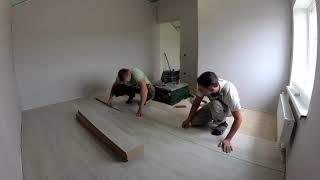 Укладка ламината. Строительство дома 9х8.