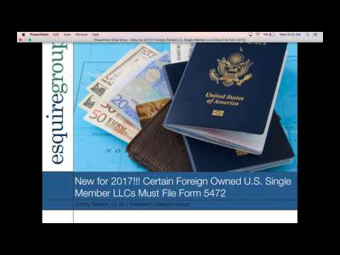 New for 2017!!! Foreign Owned U S  Single Member LLCs Must File Form 5472