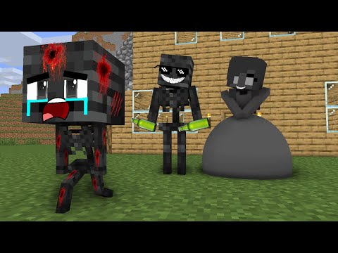 Monster School: Poor Baby Wither Skeleton Life Sad story but happy ending - minecraft animation