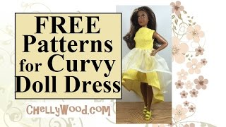 FREE Patterns for Curvy Fashion Doll Dress Sewing Project