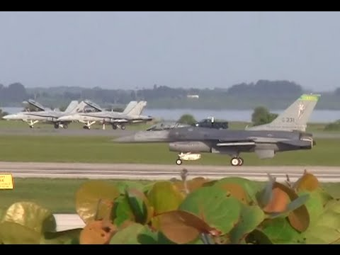 F-16 Fighting Falcons and Marine F/A-18 Hornets - Sweet Departures - Patrick Air Force Base - 2014