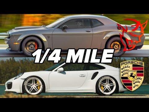 1/4 MILE RACE! Dodge Demon vs Porsche 911 Turbo S   Mod2Fame Fest 2018