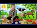 Funny kid playing with animals Farm for kids Learn Animals Names Educational videos for kids