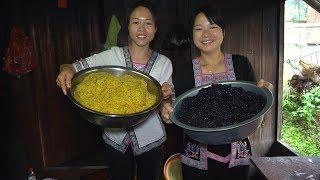 大伯摘的树叶能卖钱?秋子用石舂捣碎,4月初8就吃这飘香黑米饭了