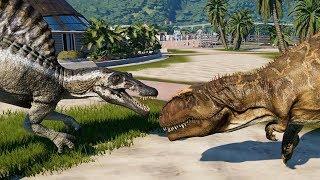 2 Giganotosaurus & 2 Spinosaurus Breakout & Fight! Jurassic World Evolution (4K 60FPS)
