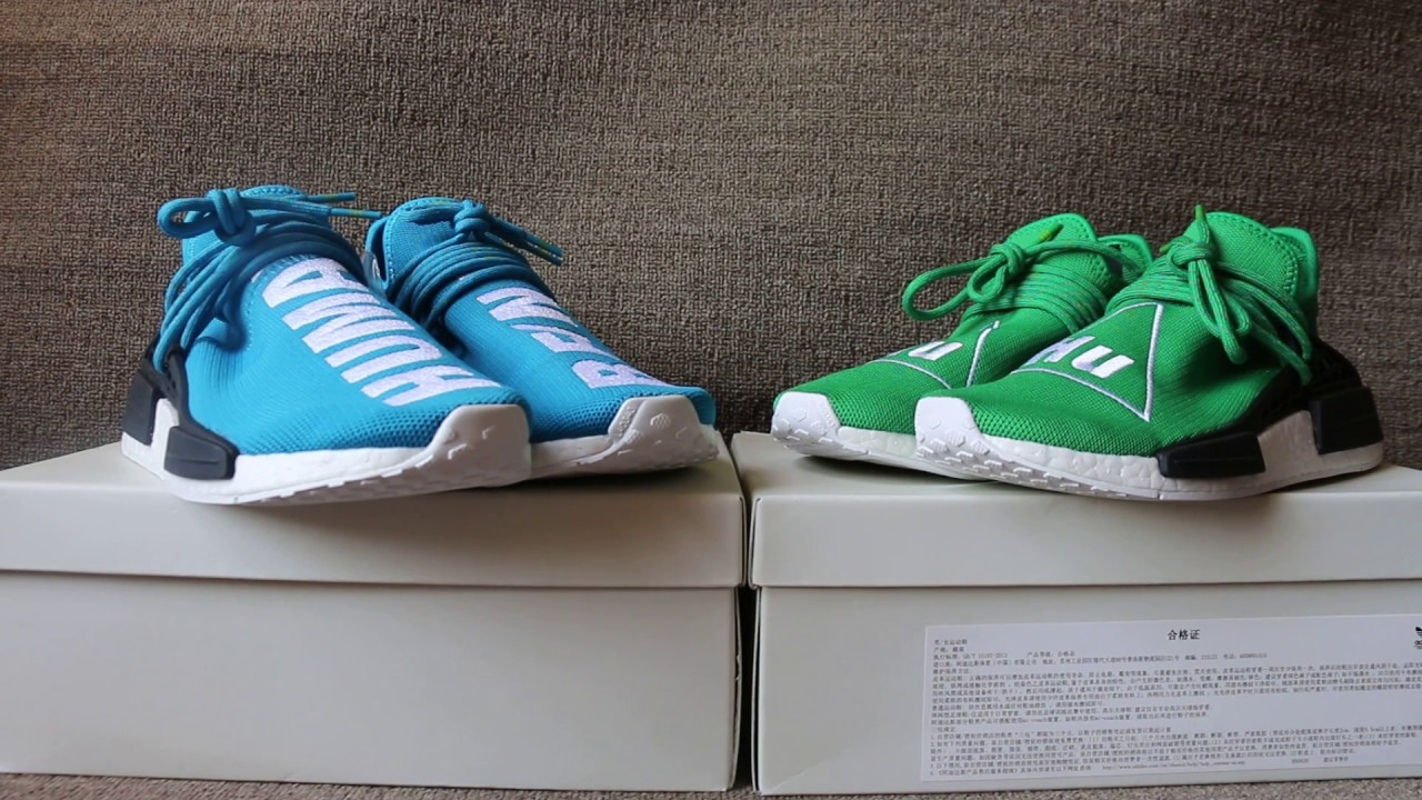 562dfeb64154f Adidas Human Race NMD x Pharrell Williams Blue and Green HD Review ...