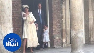 Royal family leaves chapel after Prince Louis' christening - Daily Mail thumbnail