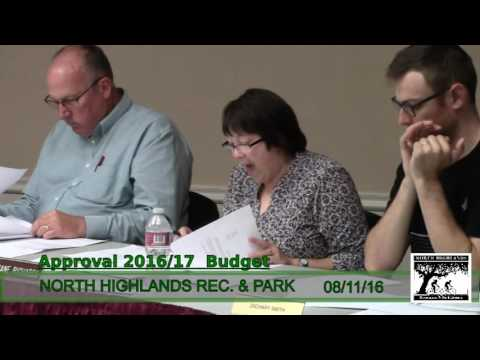 North Highlands Recreation and Park dist. meeting August 11,2016