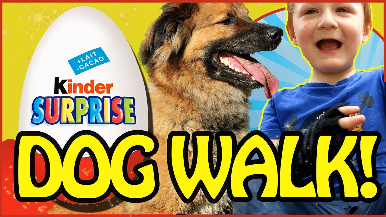 Dog Walk! - Kinder Surprise Egg - Casey & Benjie  - Kids Video - New Kids TV