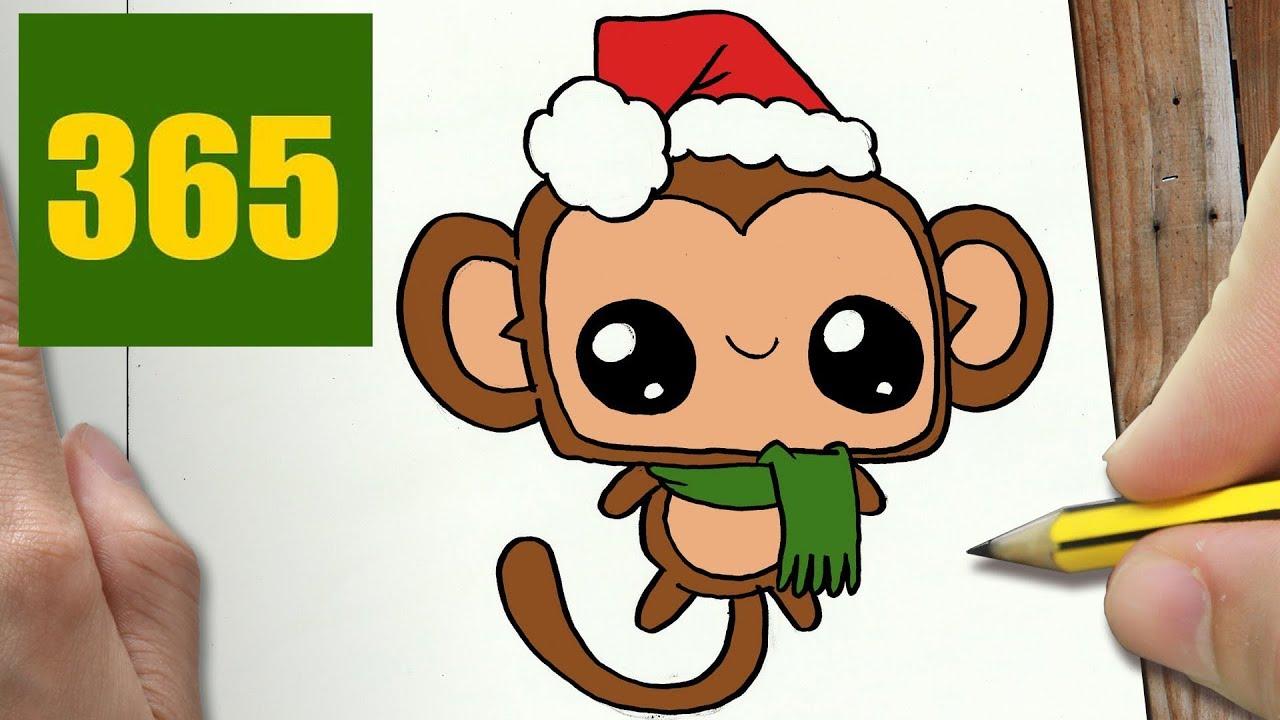 Immagini Natalizie Kawaii.Come Disegnare Scimmia Natale Kawaii Passo Dopo Passo Disegni