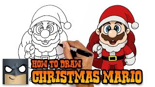 How to Draw Christmas Mario | Holiday Step-by-Step Tutorial