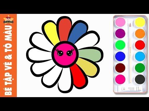 Bé tập vẽ bông hoa đơn giản và Tô màu cầu vồng đẹp lung linh