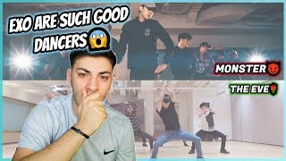 EXO DANCE PRACTICE: FIRST TIME REACTION! (Monster/The Eve)