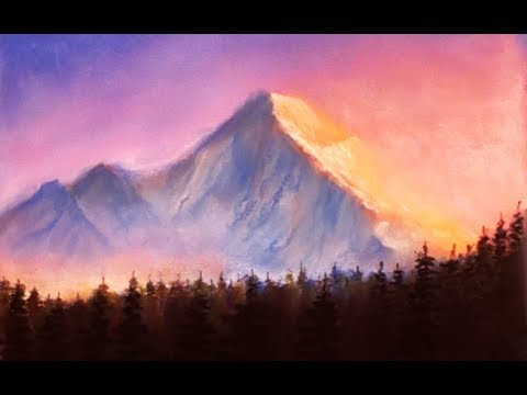 Sunset mountains drawing with soft pastels | Dilip Realistic Sketching
