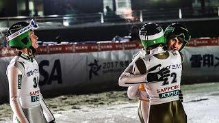 D.Prevc/Kranjec/P.Prevc jumps on the podium Sapporo 2016