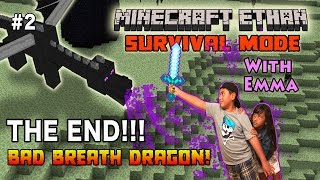 Minecraft Ethan Ender Dragon Battle With His Sister Emma In Survival Mode!!!