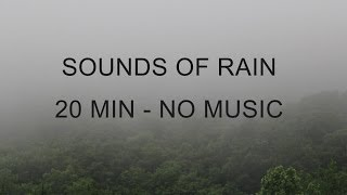 """Sounds of Rain"" No Music - 20 Min - Heavy Rain, Light Rain & Bird Sounds - HQ Stereo Recording"