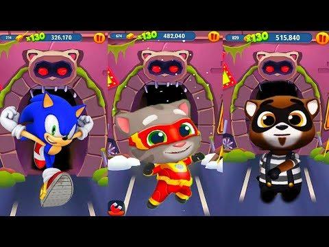 ГОВОРЯЩИЙ ТОМ ПОГОНЯ ГЕРОЕВ VS Sonic Dash соревнование против Соника,  и Гарфилда серия 1