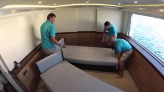Cabin metamorphosis Curvelle power catamaran