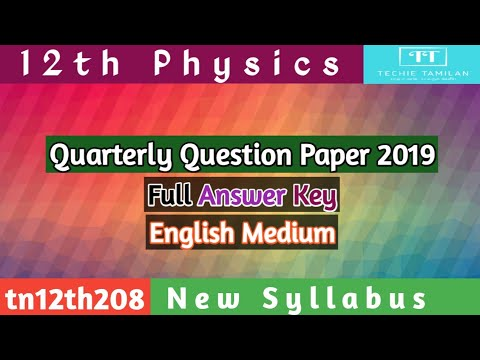 12th Physics Quarterly Question Paper Full Answer Key (English Medium) | SVB | 2019 To 2020