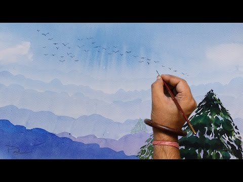 Watercolor painting tutorial on how to paint watercolor Simple Landscape (Basic, tips and tricks).