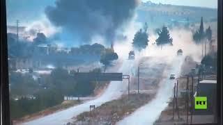 شاهد لحظة تفجير العبوة الناسفة أثناء مرور دورية روسية-تركية مشتركة في إدلب
