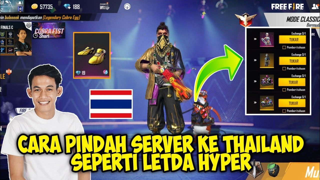 CARA PINDAH SERVER KE THAILAND SEPERTI LETDA HYPER - CARA PINDAH SERVER FREE FIRE TERBARU MARET 2021