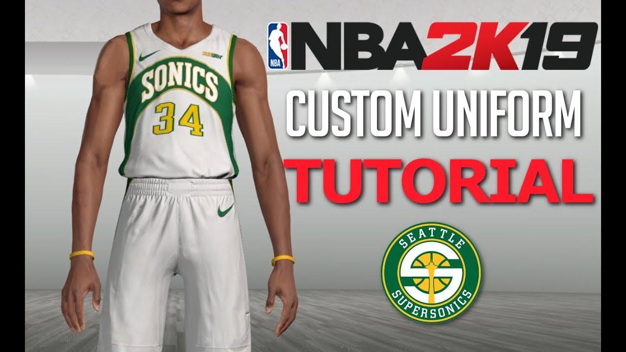official photos 82535 033b0 NBA 2K19 Custom Uniform Tutorial - Seattle Supersonics