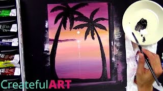How To Paint a Sunset with Palm Trees --Art Lesson