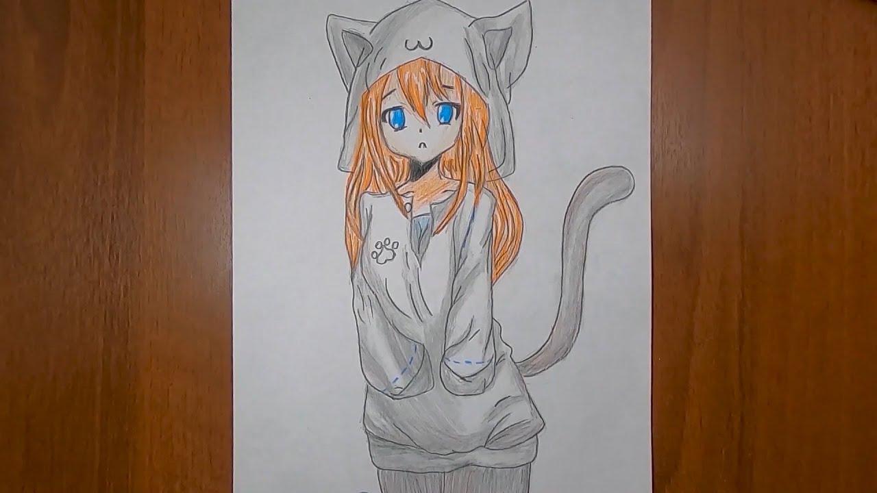 Люблю Аниме девушка кошка.Спидпейнт.Скетч.How to draw an ...