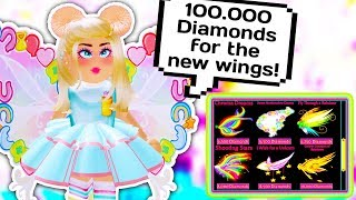 I SPENT 100.000 DIAMONDS ON ALL THE NEW WINGS // Roblox Royale High School