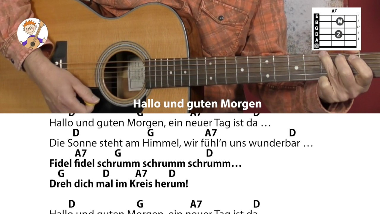 Hallo Und Guten Morgen Stephen Janetzko Begrüßungslied Mit Akkorden Text Für Gitarre